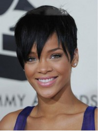Rihanna Short Straight Lace Front Synthetic Wig With Bangs 6 Inches