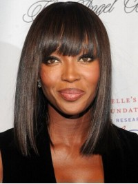 Naomi Campbell Medium Black Straight Capless Synthetic Wigs With Bang 14 Inches