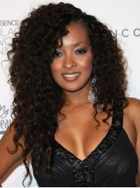 Afro-Hair Black Long Curly Full Lace Human Hair Wigs With Side Bangs 22 Inches