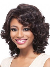 Medium Wavy Capless Synthetic Wig With Side Bangs 14 Inches