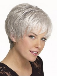 Short Smooth Capless Synthetic Hair Wigs 6 Inches