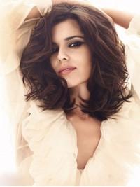 Cheryl Cole'S Medium Wavy Capless Human Hair Wigs With Side Bangs