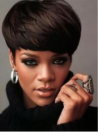 Rihanna Short Straight Capless Human Hair Wigs With Bangs