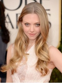 Amanda Seyfried Central Parting Blonde Long Wavy Lace Front Human Hair Wigs
