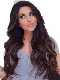 Long Wavy Lace Front Human Hair Wigs With Side Bangs