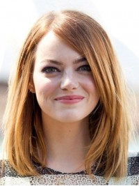 Emma Stone Medium Straight Lace Front Human Hair Wigs With Side Bangs