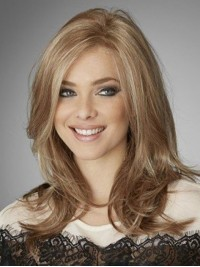 Blonde Long Straight Lace Front Wavy Human Hair Wigs With Side Bangs
