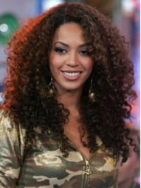 Beyonce Long Curly Capless Human Hair Wigs With Side Bangs