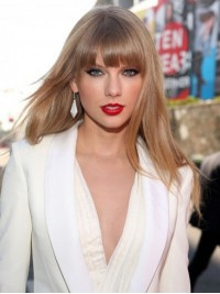 Taylor Swift Long Straight Capless Human Hair Wigs With Bangs