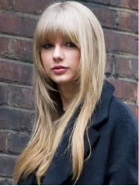 Blonde Layered Long Straight Capless Human Hair Wigs With Bangs