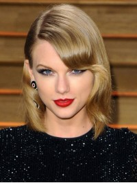 Taylor Swift Short Wavy Capless Synthetic Wigs With Side Bangs