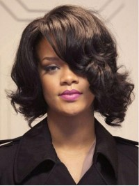 Rihanna Short Wavy Lace Front Human Hair Wigs With Side Bangs