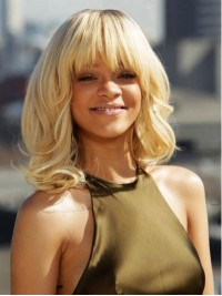 Rihanna Blonde Medium Wavy Capless Synthetic Wigs With Bangs