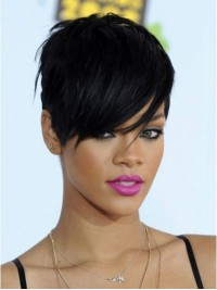 Rihanna Boy Cut Short Straight Capless Synthetic Wigs With Bangs