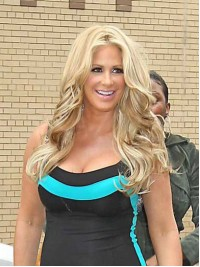 Kim Zolciak Central Parting Blonde Wavy Full Lace Synthetic Wigs