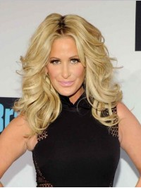 Kim Zolciak Central Parting Long Wavy Synthetic Wigs