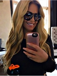 Kim Zolciak Long Blonde Wavy Synthetic Lace Front Wig
