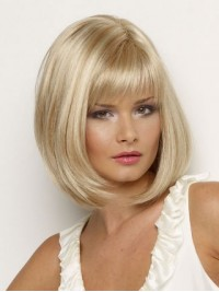 Bob Blonde Short Straight Capless Synthetic Wig