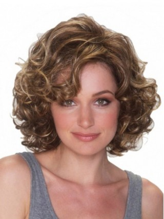 Brown Short Curly Synthetic Capless Wigs