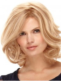Medium Blonde Wavy Lace Front Synthetic Wig