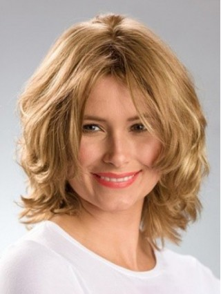 Blonde Medium Wavy Synthetic Capless Wig