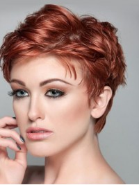 Red Short Straight Lace Front Synthetic Wig