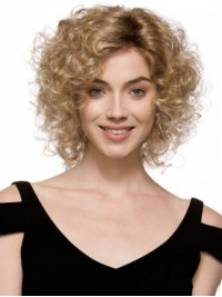 Blonde Curly Capless Synthetic Wig
