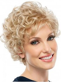 Blonde Curly Short Lace Front Synthetic Wigs
