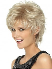 Blonde Short Wavy Capless Synthetic Wig