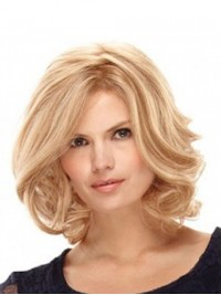 Medium Blonde Wavy Full Lace Synthetic Wig