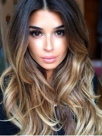 Long Black Ombre Blond Lace Front Human Hair Wig
