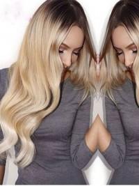 Long Blonde Wavy Two Tones Human Wig
