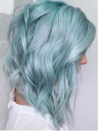 Sky Blue Medium Wavy Human Wig