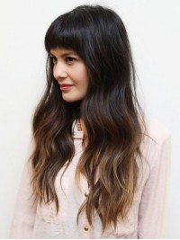 Two Tones Long Wavy Human Wig