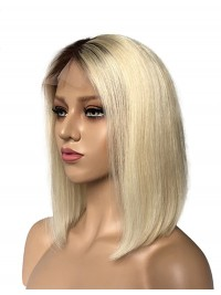 Medium Straight Bob Lace Front Wigs With Dark Root