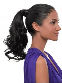 Water Wave Easy Attach Remy Human Hair Ponytail For Ladies