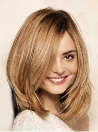 Layered Blonde Short Straight Capless Human Hair Wigs With Side Bangs 12 Inches