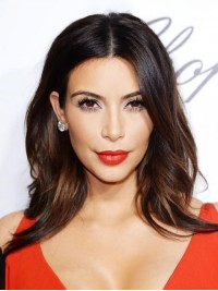 Kim Kardashian Central Parting Ombre Long Wavy Capless Human Hair Wigs 16 Inches