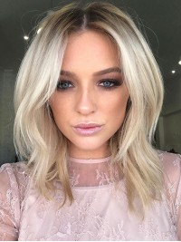 Layered Blonde Central Parting Short Straight Lace Front Human Hair Wigs 12 Inches