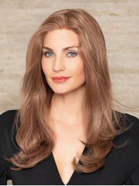 Central Parting Auburn Long Straight Monofilament Human Hair Wigs 18 Inches