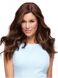 Long Wavy Auburn Capless Human Hair Wigs With Side Bangs 18 Inches
