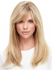 Long Straight Blonde Lace Front Human Hair Wigs With Bangs 18 Inches