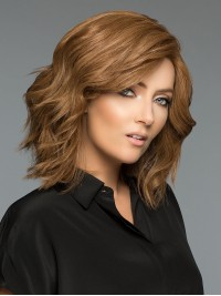 Brown Monofilament Medium Wavy Human Hair Wigs With Side Bangs 12 Inches