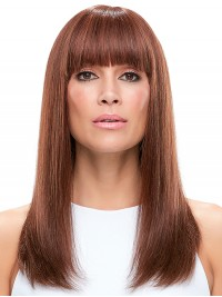 Long Straight Auburn Monofilament Human Hair Wigs With Bangs 18 Inches