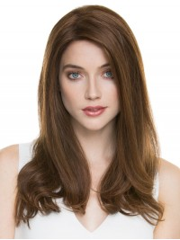 Long Straight Brown Lace Front Human Hair Wigs With Side Bangs 20 Inches