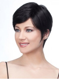 Lace Front Boy Cut Black Straight Short Remy Human Wigs 8 Inches