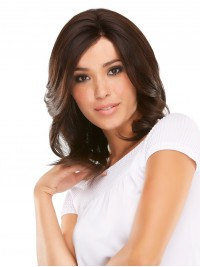 Medium Brown Lace Front Wavy Human Hair Wigs With Side Bangs 14 Inches