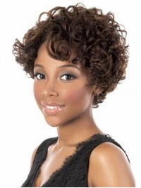 Curly Human Hair With Capless Cap Wigs 10 Inches