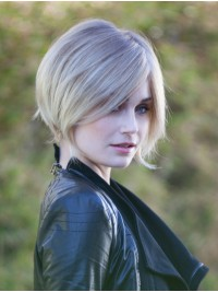 Layered Blonde Straight Capless Human Hair Wigs With Side Bangs 8 Inches